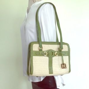 Gianni Bernini  Bag, cream with green leather